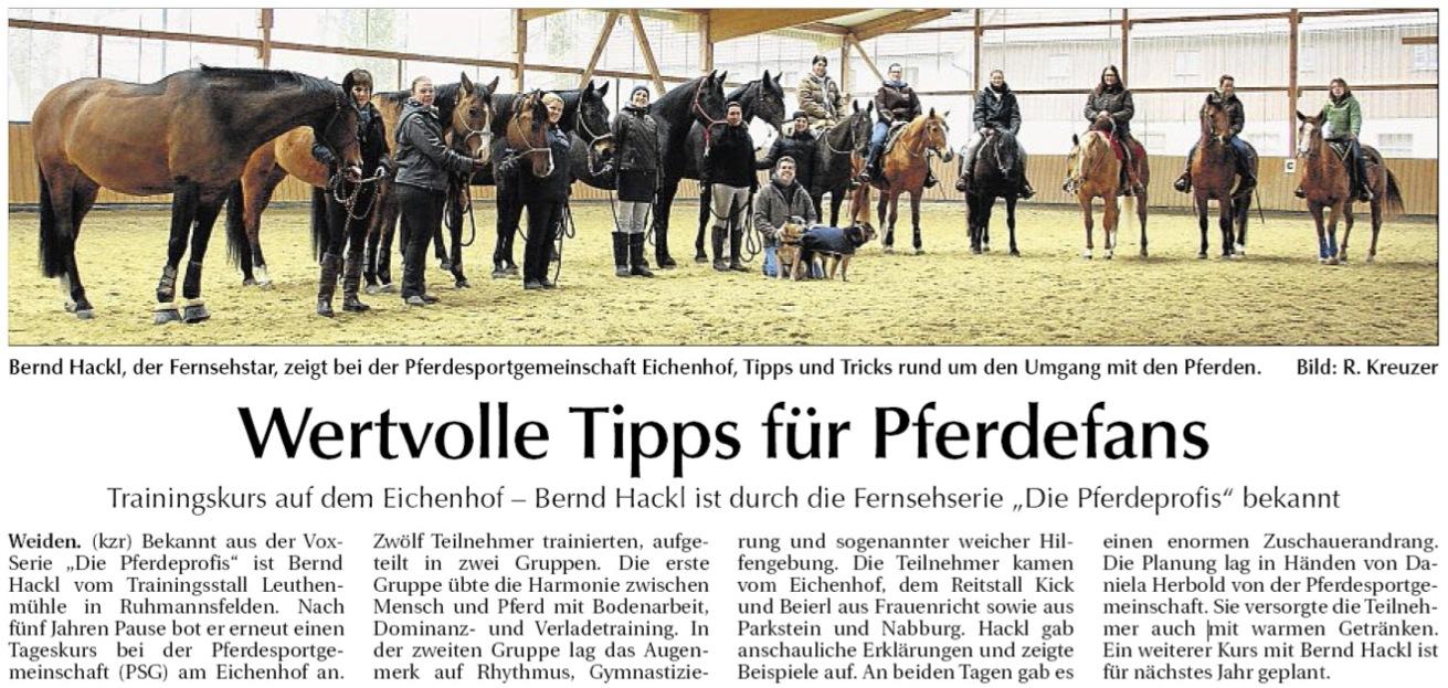 Kurs mit Bernd Hackl auf dem Eichenhof Frauenricht