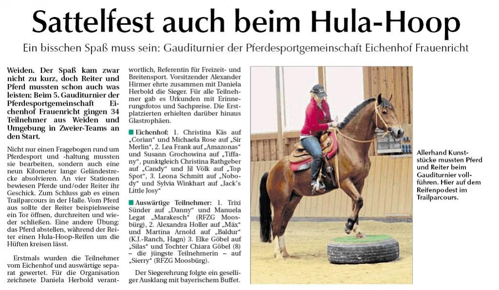 Zeitungsbericht Gauditurnier 2013