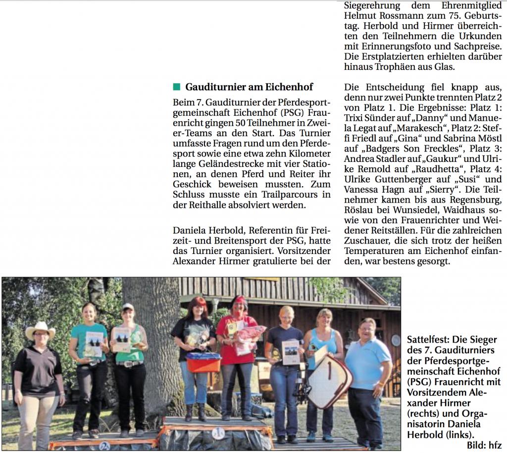 Gauditurnier 2015 - Zeitungsbericht
